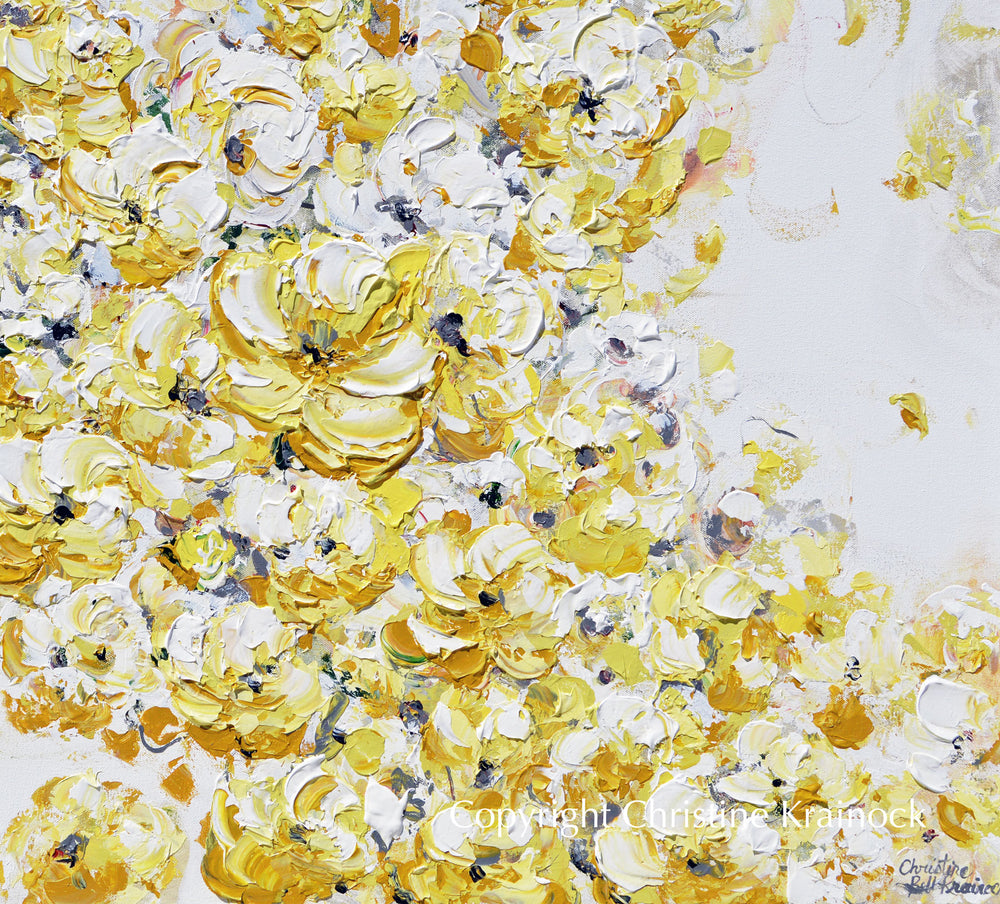 ORIGINAL Art Yellow White Abstract Painting Flowers Floral