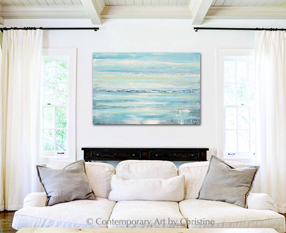 """Caribbean"" ORIGINAL Art Abstract Painting Textured Aqua Blue White Sea Foam Beach Coastal Home Decor Wall Art 24x36"""
