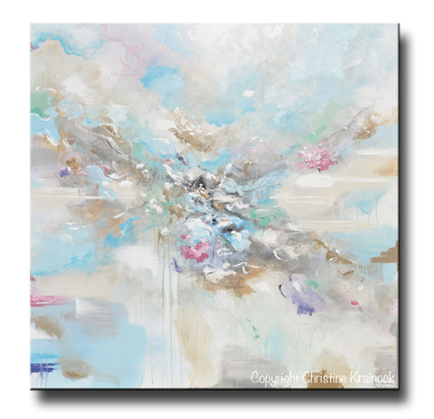 ORIGINAL Art Abstract Blue White Painting Large 48\