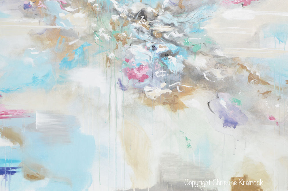 """Joyful Expressions"" - Giclee Print Abstract Painting Canvas Wall Art Pale Blue White Beige"