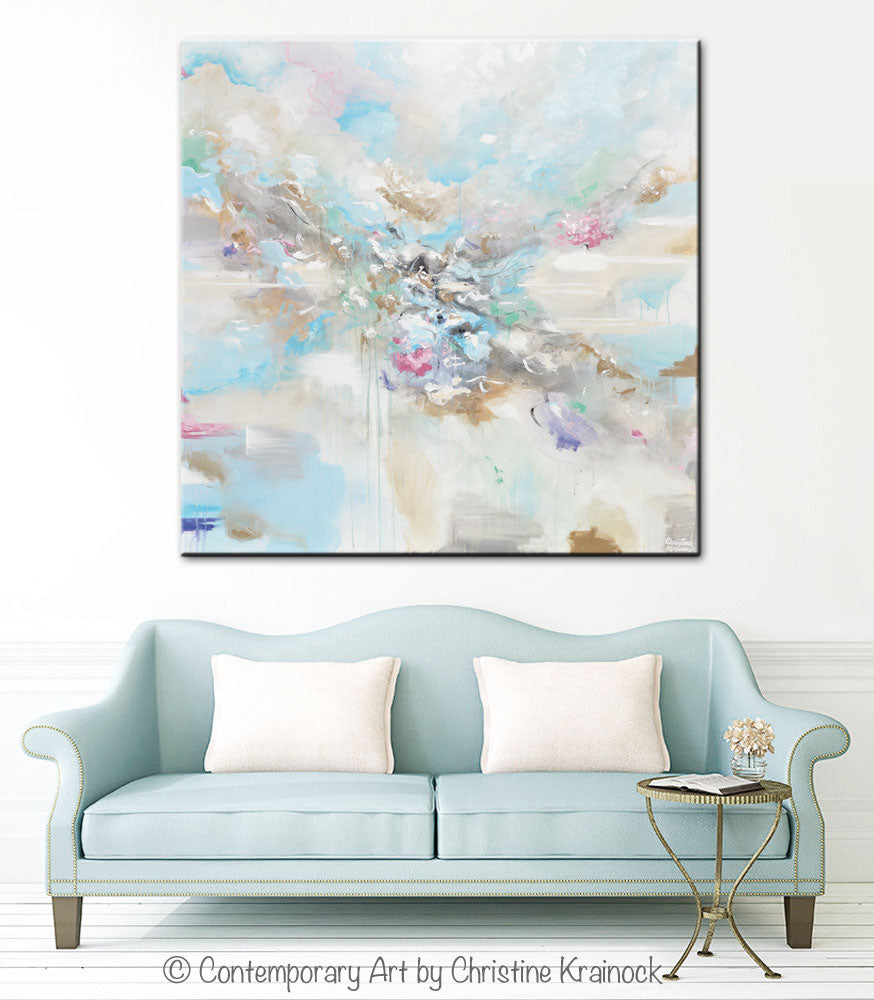 "CUSTOM for KAREN -""Joyful Expressions"" Abstract Painting Canvas Wall Art Pale Blue White Beige"