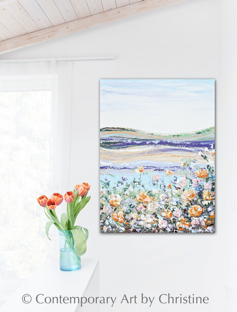 ORIGINAL Art Abstract Floral Landscape Painting Texture Peach Flowers – Contemporary Art by ...