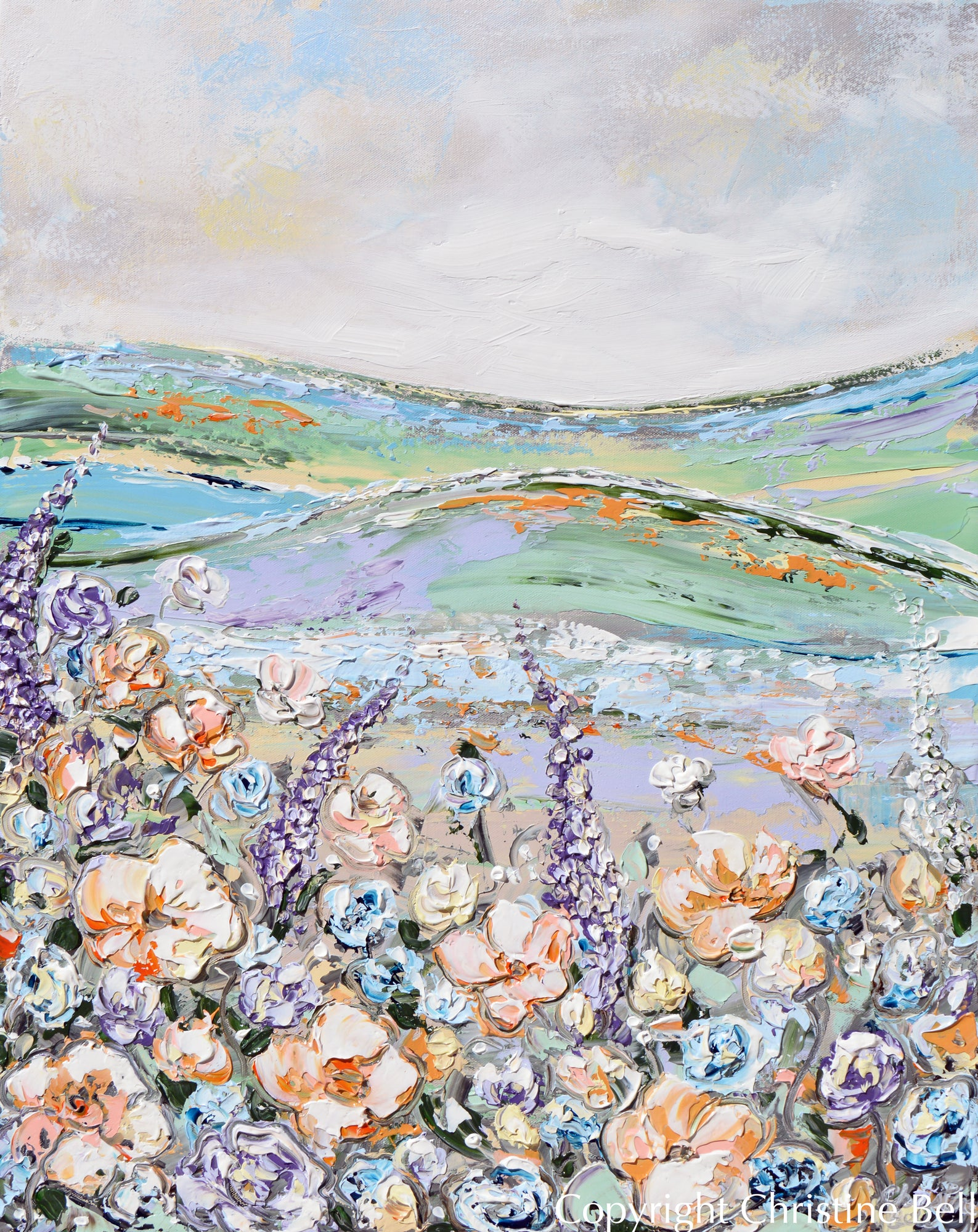 Original Art Abstract Landscape Floral Painting Lavender Wildflowers Contemporary Art By Christine