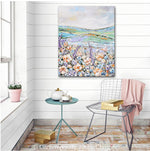 """Wildflower Meadow"" ORIGINAL Art Abstract Floral Painting Textured Wildflowers Landscape 24x30"""