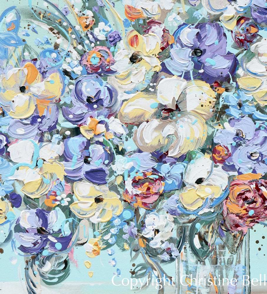 """Petals of Joy"" ORIGINAL Art Abstract Floral Flower Bouquet Painting Textured Wildflowers 24x30"""