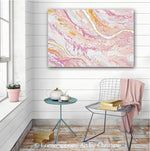 """Tickled Pink"" ORIGINAL Art Abstract Painting Pink Peach White Rose Gold Leaf Coastal 24x36"""