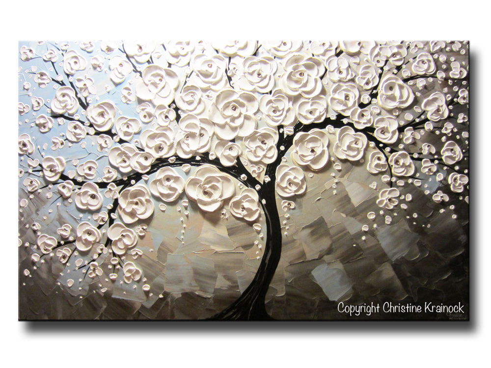 ORIGINAL Art Abstract Painting White Blossoming Cherry Tree Flowers Large Art Textured Blue Grey Taupe - Christine Krainock Art - Contemporary Art by Christine - 5
