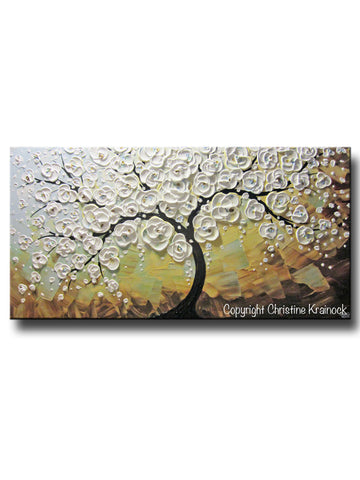 ORIGINAL Art Abstract Painting Blossoming Cherry Tree Textured White Flowers Wall Art Blue Brown - Christine Krainock Art - Contemporary Art by Christine - 1