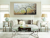 ORIGINAL Art Abstract Painting Blossoming Cherry Tree Textured White Flowers Wall Art Blue Brown - Christine Krainock Art - Contemporary Art by Christine - 2