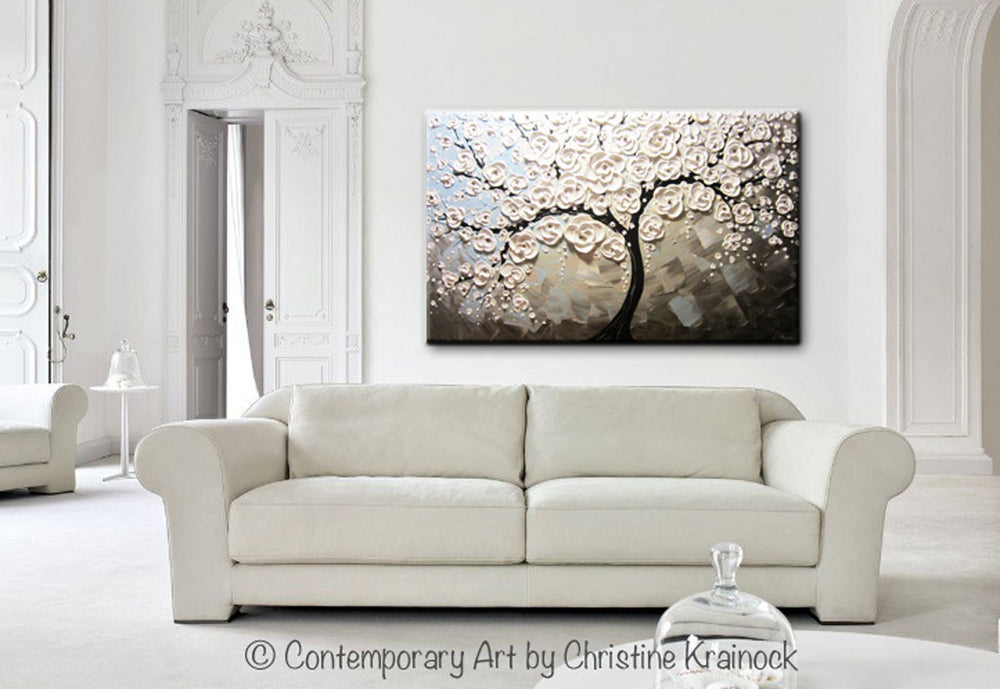 ORIGINAL Art Abstract Painting White Blossoming Cherry Tree Flowers Large Art Textured Blue Grey Taupe - Christine Krainock Art - Contemporary Art by Christine - 2
