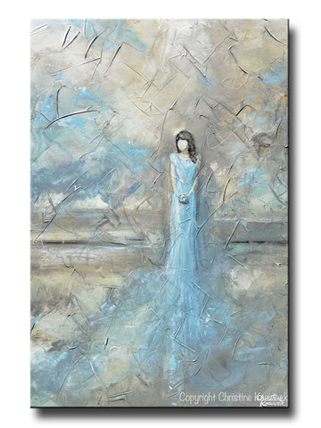 ORIGINAL Abstract Figurative Painting Woman Blue Dress Textured Blue White Grey Taupe Home Decor Wall Art 24x36""