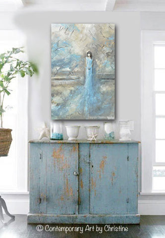 original abstract figurative painting woman blue dress textured blue white grey taupe home decor wall art