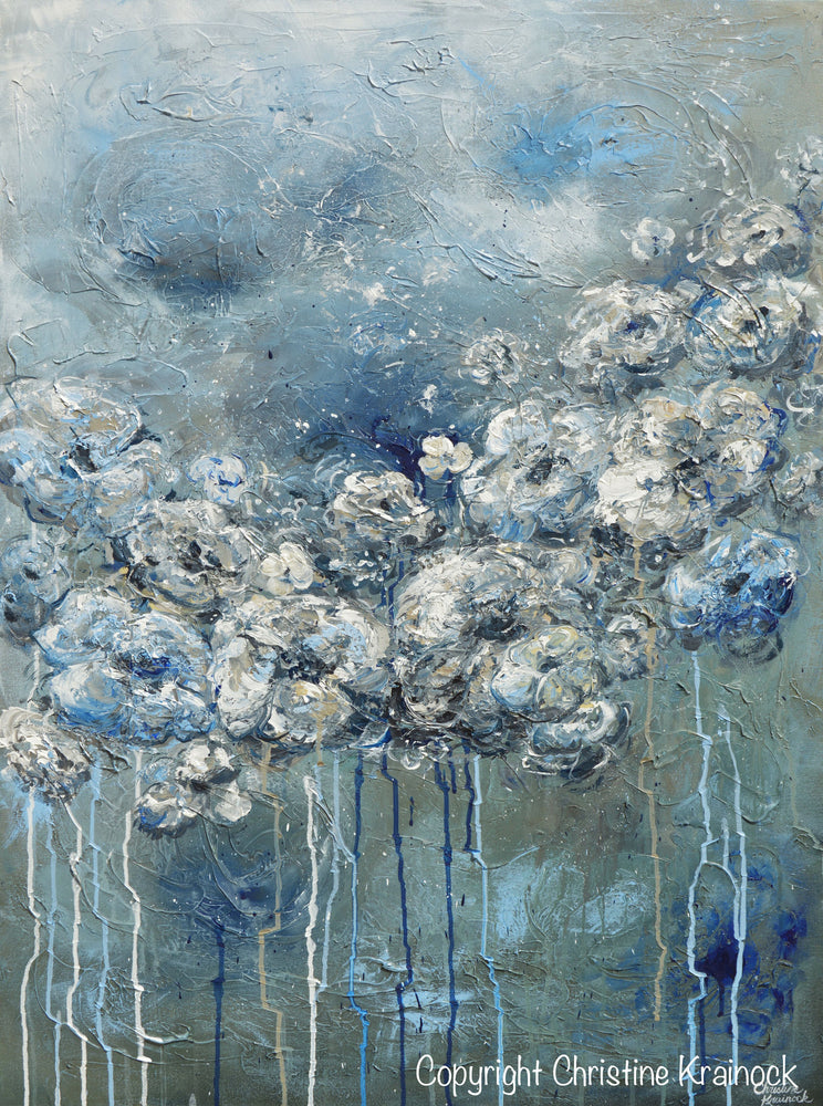 ORIGINAL Art Abstract Blue Grey White Floral Painting Flowers LARGE Modern Coastal - Christine Krainock Art - Contemporary Art by Christine - 6