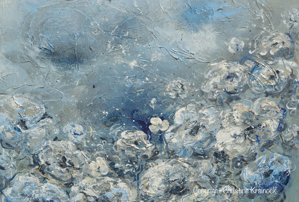 ORIGINAL Art Abstract Blue Grey White Floral Painting Flowers LARGE Modern Coastal - Christine Krainock Art - Contemporary Art by Christine - 5