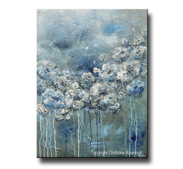 Sold Original Abstract Painting Pearl White Blue Wall Art