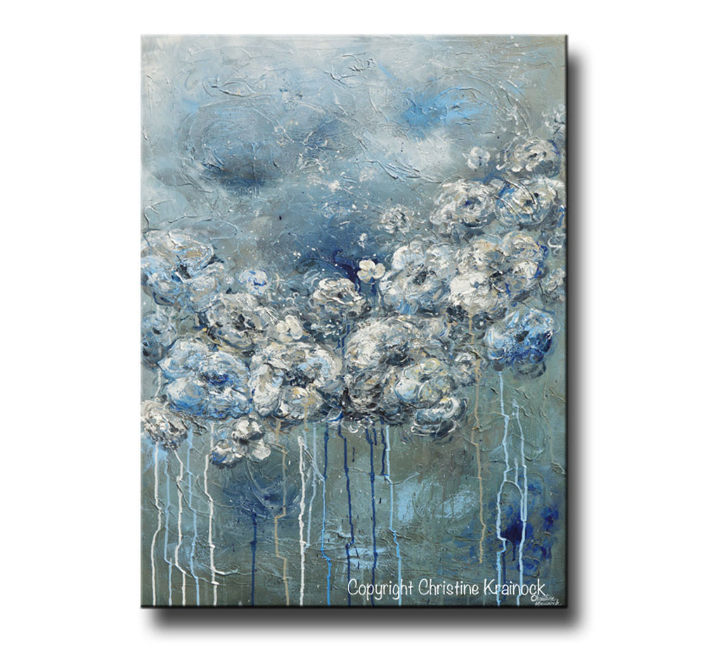 ORIGINAL Art Abstract Blue Grey White Floral Painting Flowers LARGE Modern Coastal - Christine Krainock Art - Contemporary Art by Christine - 3