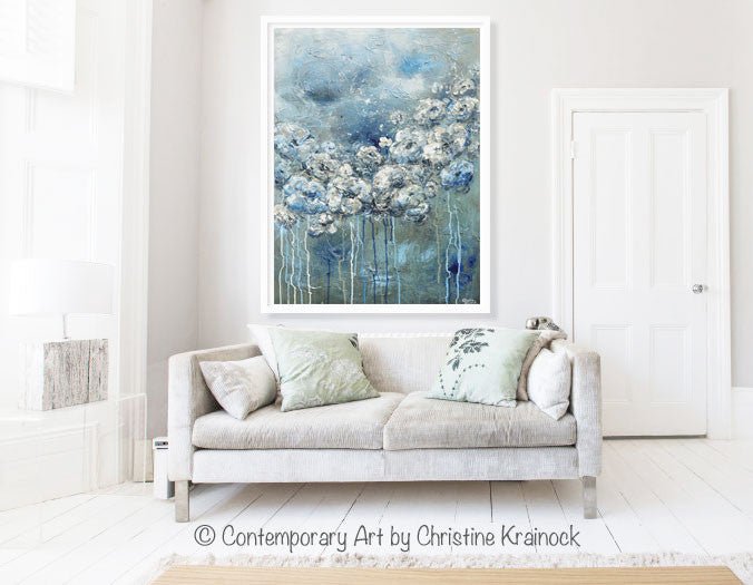 ORIGINAL Art Abstract Blue Grey White Floral Painting Flowers LARGE Modern Coastal - Christine Krainock Art - Contemporary Art by Christine - 4