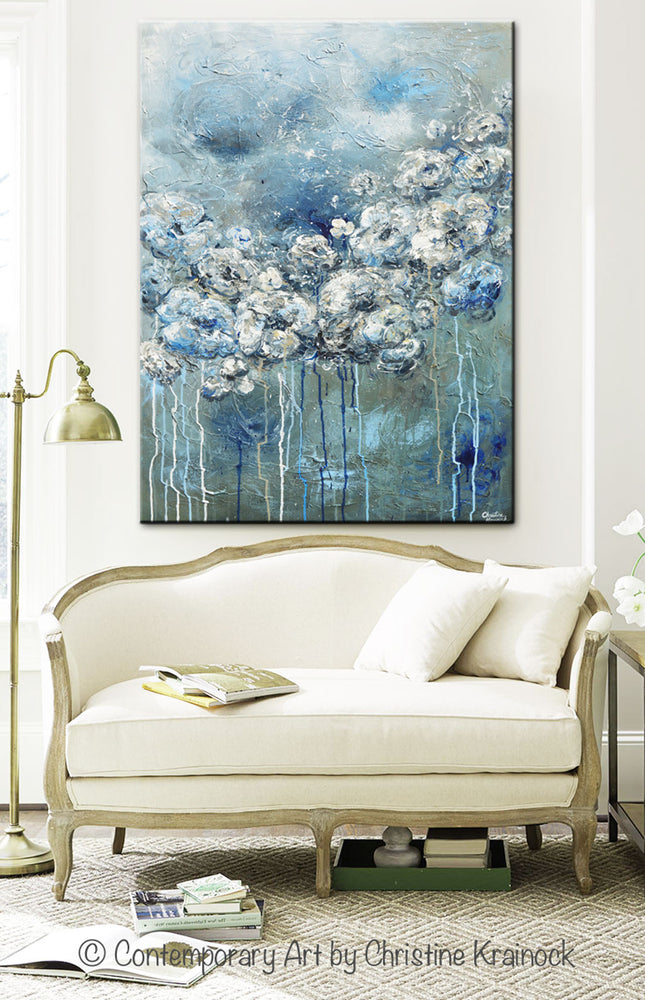 ORIGINAL Art Abstract Blue Grey White Floral Painting Flowers LARGE Modern Coastal - Christine Krainock Art - Contemporary Art by Christine - 7