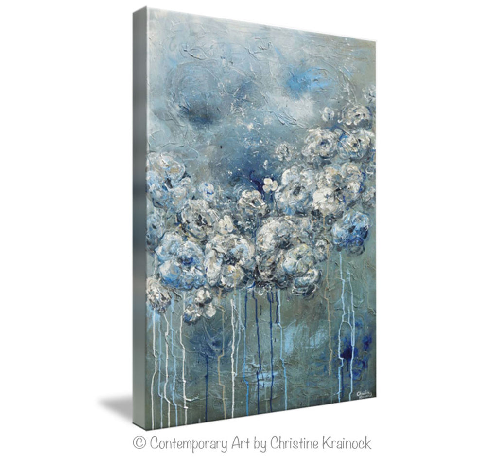 GICLEE PRINT Art Abstract Blue Grey White Floral Painting Flowers Modern Coastal Canvas Print - Christine Krainock Art - Contemporary Art by Christine - 5