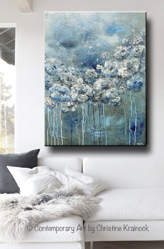 ORIGINAL Art Abstract Blue Grey White Floral Painting Flowers LARGE Modern Coastal - Christine Krainock Art - Contemporary Art by Christine - 2
