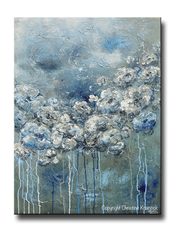 ORIGINAL Art Abstract Blue Grey White Floral Painting Flowers LARGE Modern Coastal - Christine Krainock Art - Contemporary Art by Christine - 1