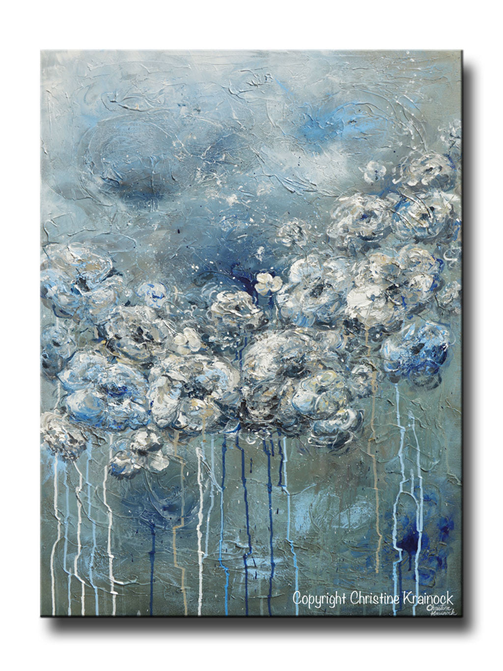 Giclee print art abstract blue white flower painting canvas print giclee print art abstract blue grey white floral painting flowers modern coastal canvas print izmirmasajfo