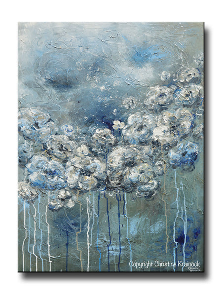 Giclee Print Art Abstract Blue White Flower Painting