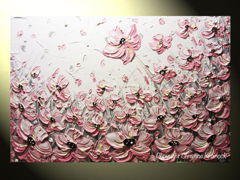 Custom art abstract painting pink poppies white flowers grey custom art abstract painting pink poppies white flowers grey textured poppy floral mightylinksfo