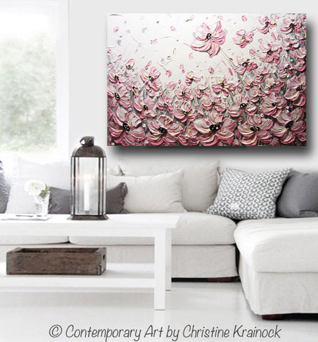 Original Art Abstract Painting Pink Poppies Flowers Pink White Grey