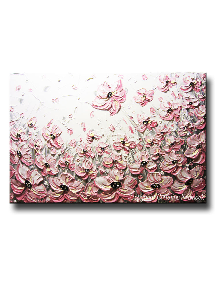 CUSTOM Art Abstract Painting Pink Poppies White Flowers Grey Textured Poppy Floral