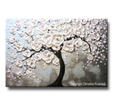 ORIGINAL Art Abstract Painting Blossoming Cherry Tree White Flowers Textured Blue Grey - Christine Krainock Art - Contemporary Art by Christine - 3