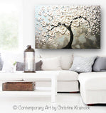 ORIGINAL Art Abstract Painting Blossoming Cherry Tree White Flowers Textured Blue Grey - Christine Krainock Art - Contemporary Art by Christine - 2