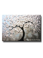 ORIGINAL Art Abstract Painting Blossoming Cherry Tree White Flowers Textured Blue Grey