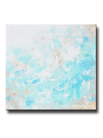 ORIGINAL Art Blue Abstract Painting Textured Coastal Beach Artwork Light Aqua Blue Green White Beige - Christine Krainock Art - Contemporary Art by Christine - 1