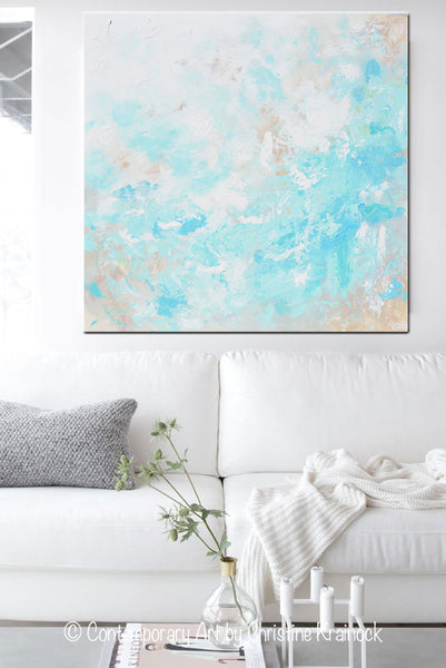 original art blue abstract painting modern coastal aqua contemporary art by christine. Black Bedroom Furniture Sets. Home Design Ideas