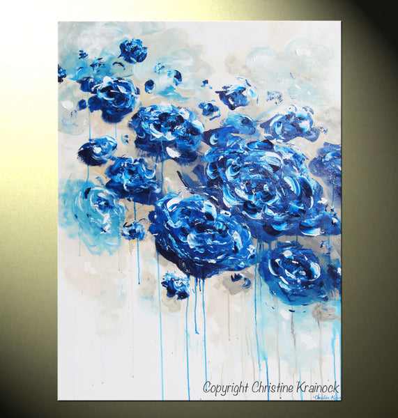Sold Original Abstract Painting Pearl White Blue Wall Art: CANVAS PRINT Large Art Blue Abstract Blue White Flowers