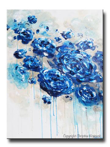 ORIGINAL Art Abstract Navy Blue Floral Painting Botanical Flowers LARGE Modern Coastal Taupe Teal - Christine Krainock Art - Contemporary Art by Christine - 1