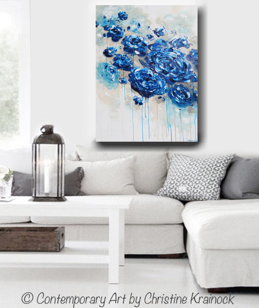 navy and teal living room original abstract navy blue floral painting flowers 20020