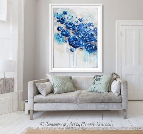 ORIGINAL Art Abstract Navy Blue Floral Painting Botanical Flowers LARGE Modern Coastal Taupe Teal
