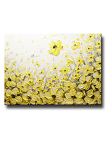 Original Art Yellow Grey Abstract Painting Flowers Poppies Modern Coastal Gold White Floral 30x40""