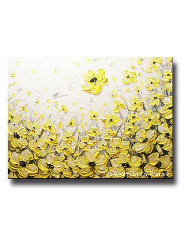 "Original Art Yellow Grey Abstract Painting Flowers Poppies Modern Coastal Gold White Floral 30x40"" - Christine Krainock Art - Contemporary Art by Christine - 1"