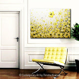 "Original Art Yellow Grey Abstract Painting Flowers Poppies Modern Coastal Gold White Floral 30x40"" - Christine Krainock Art - Contemporary Art by Christine - 7"