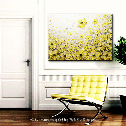 Original Art Yellow Grey Abstract Painting Flowers Poppies Modern ...