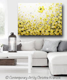 "Original Art Yellow Grey Abstract Painting Flowers Poppies Modern Coastal Gold White Floral 30x40"" - Christine Krainock Art - Contemporary Art by Christine - 2"