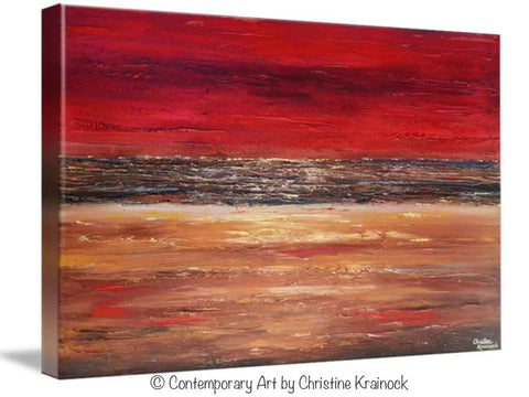 High Quality GICLEE PRINT Art Abstract Red Painting Canvas Prints Modern Urban Wall Art  Brown Gold Coastal