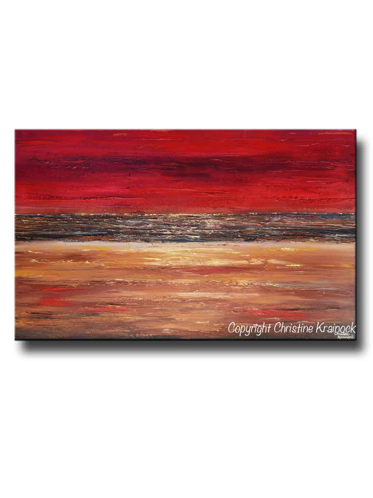GICLEE PRINT Art Abstract Red Painting Canvas Prints Modern Urban Wall Art Brown Gold Coastal
