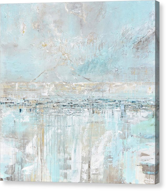 Giclee Print Light Blue Coastal Abstract Painting Sea Breeze Canvas Print Home Decor Wall Art XL 44""