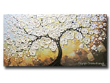 ORIGINAL Art Abstract Painting Blossoming Cherry Tree Textured White Flowers Wall Art Blue Brown Gold 24x48""