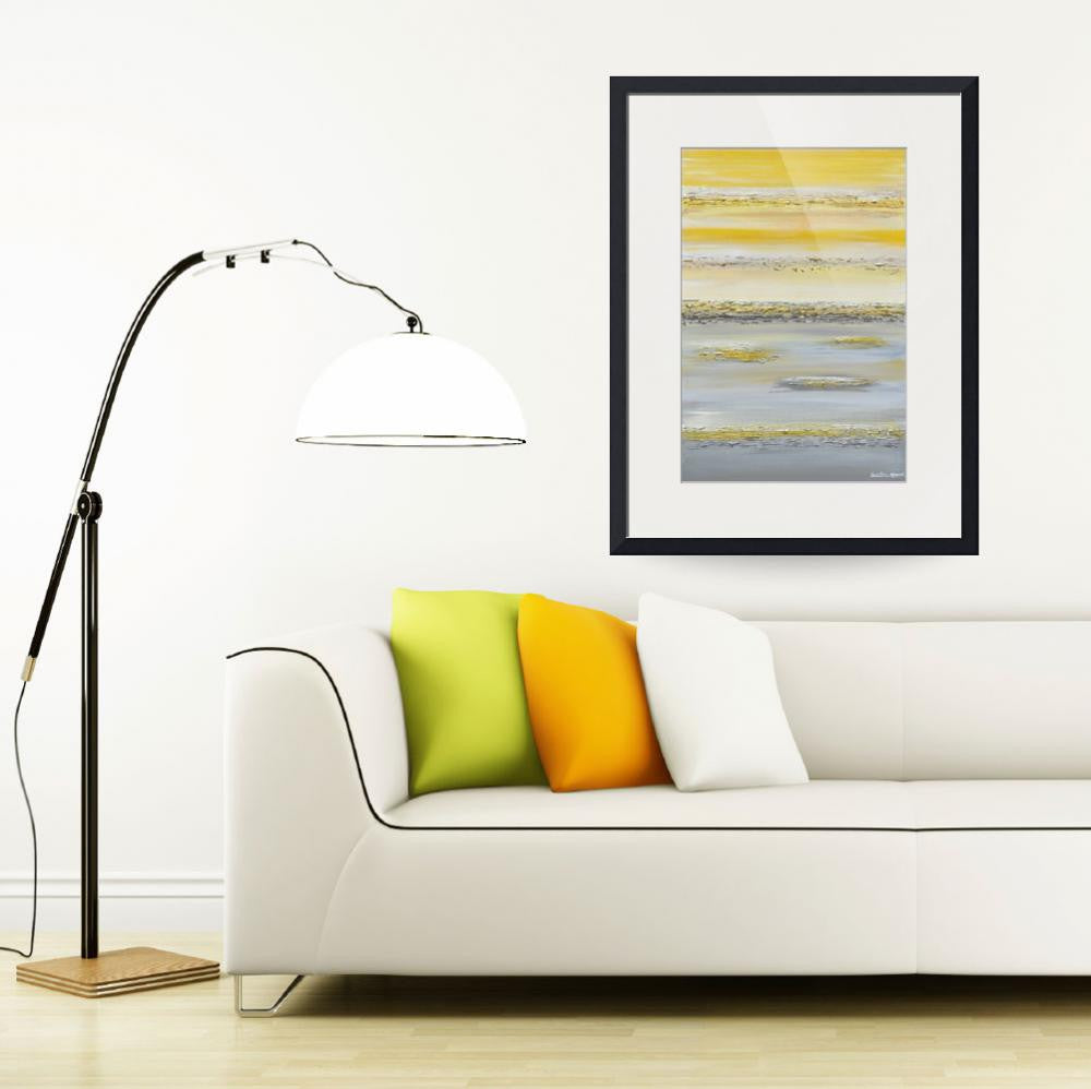 GICLEE PRINT Art Yellow Grey Abstract Painting Wall Art Modern Canvas Prints Urban Gold White City - Christine Krainock Art - Contemporary Art by Christine - 2