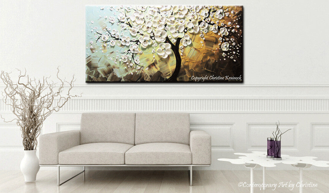 Shop Contemporary Art by Christine gallery fine art paintings contemporary palette knife painings wall art decor for sale buy art white blossoming cherry tree painting christine krainock texture art